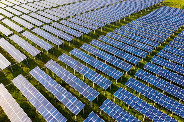 Vue de dessus des panneaux solaires (cellule solaire) dans une ferme solaire avec arbre vert