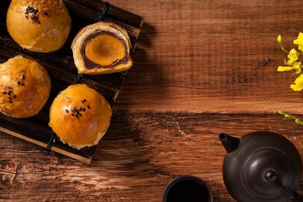 Vue de dessus de la pâtisserie jaune de gâteau de lune, gâteau de lune pour les vacances de la fête de la mi-automne sur fond de table en bois