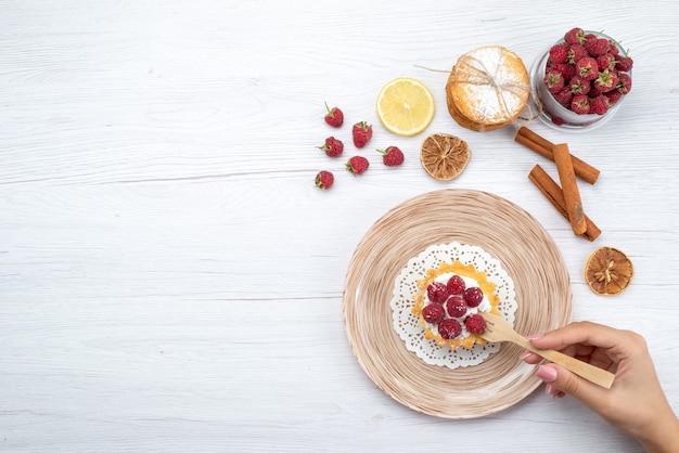 Vue de dessus petit gâteau délicieux avec de la crème et des framboises avec des biscuits sandwich à la cannelle sur le sol léger gâteau aux baies de fruits biscuit sucré