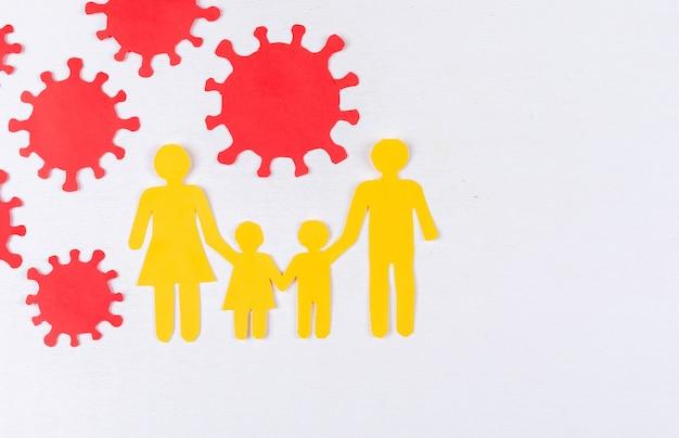 Vue de dessus d'une photo de famille avec un virus