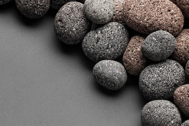 Vue de dessus pierres avec espace copie