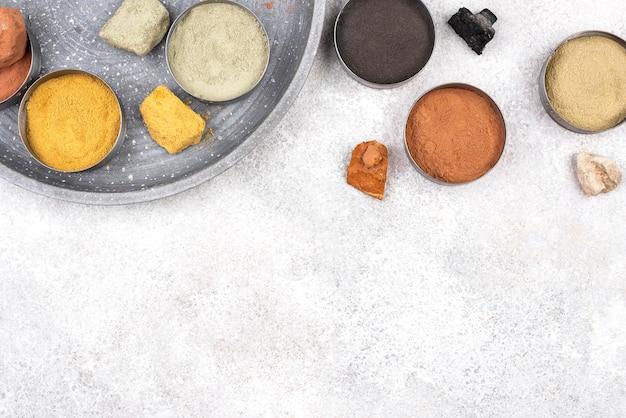 Vue de dessus pigment de colorant organique