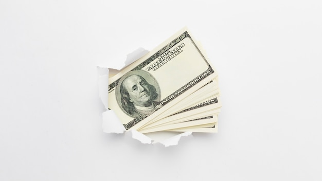 Vue de dessus pile de billets de banque