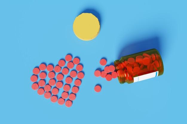 Vue de dessus des pilules rouges débordant de bouteille de pilules formant un coeur isolé sur une surface bleue.