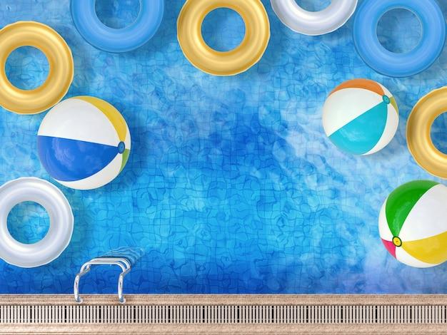 Vue de dessus de la piscine de rendu 3d avec ballons de plage et anneaux de bain