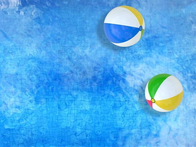 Vue de dessus de la piscine de rendu 3d avec des ballons de plage