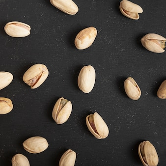 Vue de dessus des pistaches