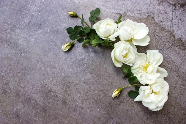 Vue de dessus à plat maquette composition florale avec des fleurs roses blanches sur fond gris