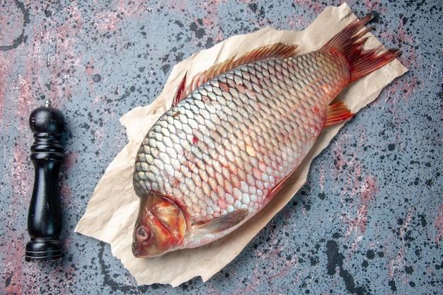 Vue de dessus poisson cru frais sur fond bleu