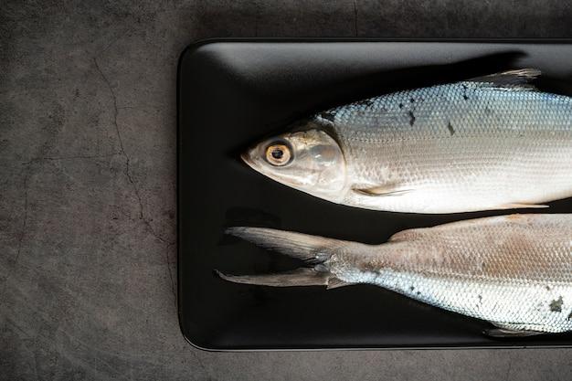 Vue de dessus avec poisson dans un plateau