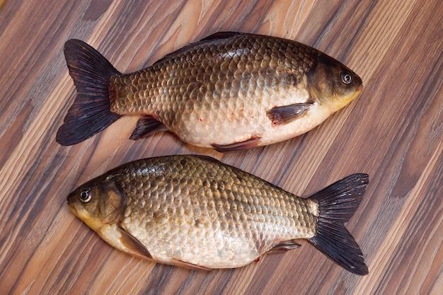 Vue de dessus de poisson fraîchement pêché