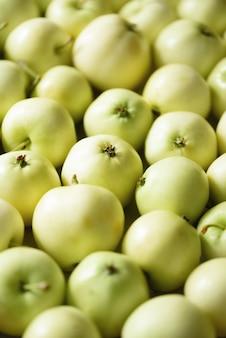 Vue de dessus de la pomme verte., concept, espace copie, macro