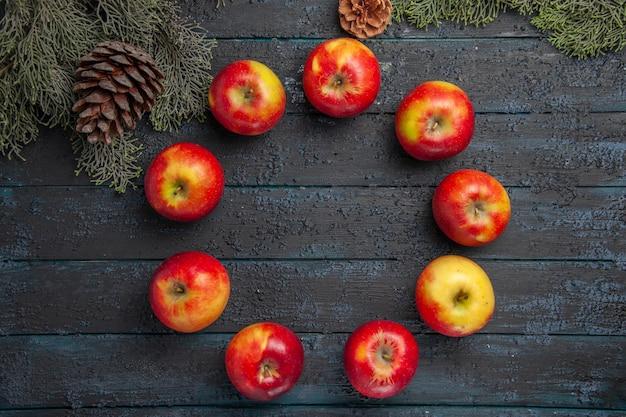 Vue de dessus des pommes entre les branches neuf pommes disposées en cercle entre les branches des arbres avec des cônes
