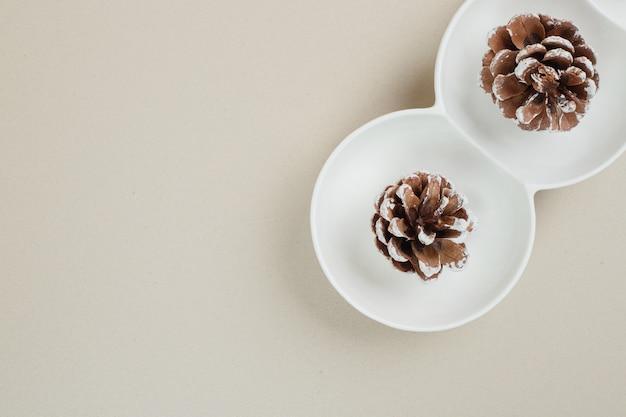 Vue de dessus des pommes de pin dans des bols blancs