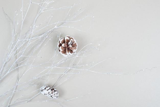 Vue de dessus des pommes de pin sur une surface beige
