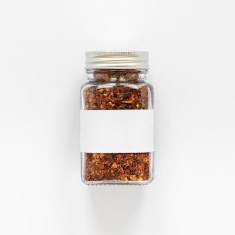 Vue de dessus pot étiqueté avec des épices