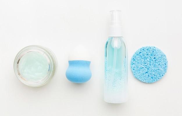 Vue de dessus des produits cosmétiques bio