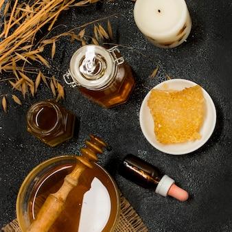 Vue de dessus produits de miel