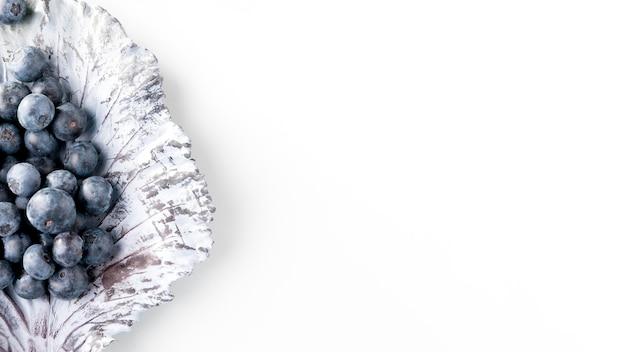 Vue de dessus des raisins sur une feuille de chou avec espace copie