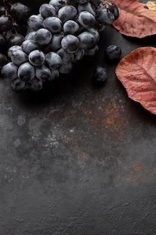Vue de dessus des raisins et laisse copie espace