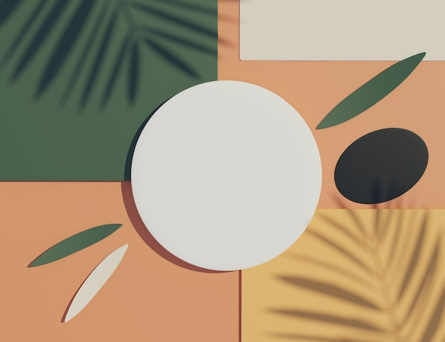 Vue de dessus de rendu 3d du cadre de cylindre blanc blanc pour la maquette et l'affichage des produits avec des ombres de feuilles de palmier