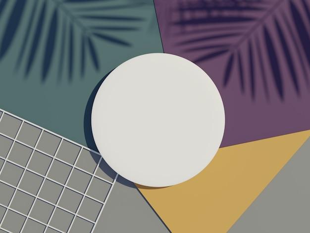 Vue de dessus de rendu 3d du cadre de cylindre vierge blanc pour la maquette et l'affichage de produits
