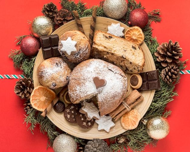 Vue de dessus repas de noël festif