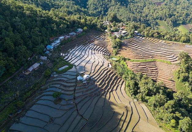 Vue de dessus rizière en terrasse à mae cham chiangmai dans le nord de la thaïlande