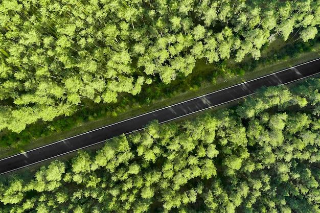 Vue de dessus d'une route d'autoroute au milieu de la forêt