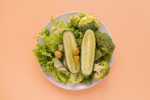 Vue de dessus salade verte