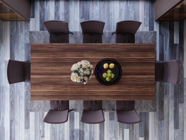 Vue de dessus de la salle à manger moderne. rendu 3d