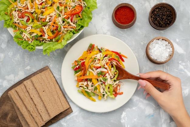 Vue de dessus savoureuse salade de légumes avec des légumes tranchés à l'intérieur de la plaque avec assaisonnements sur gris, repas de salade de légumes
