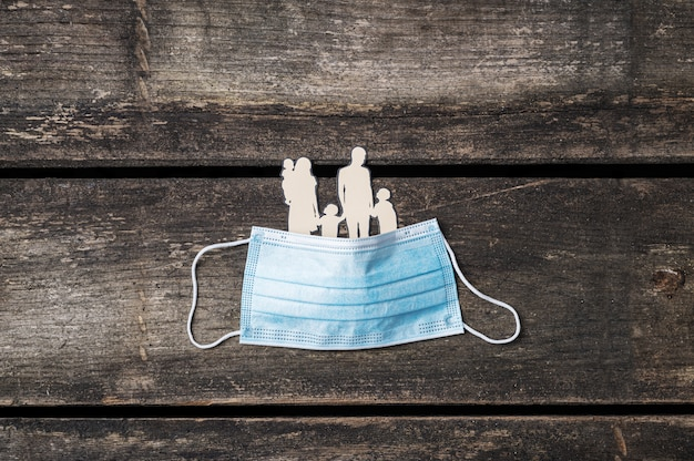 Vue de dessus d'une silhouette de papier découpé d'une famille couverte de masque de protection médicale