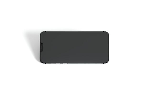 Vue de dessus smartphone sur fond blanc