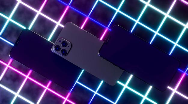 Vue de dessus des smartphones avec néon