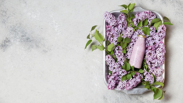Vue de dessus smoothie et jacinthe avec copie-espace