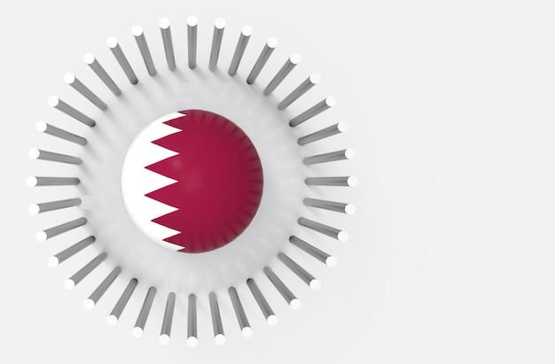 Vue de dessus de la sphère de drapeau du pays qatar entourée de tuyaux en acier. qatar crise diplomatique con