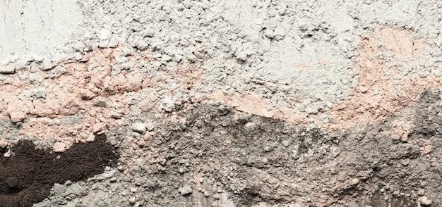 Vue de dessus des taches d'argile et de la poudre