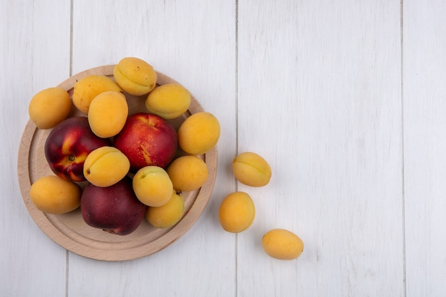 Vue de dessus des tartes aux abricots sur un support sur une surface blanche