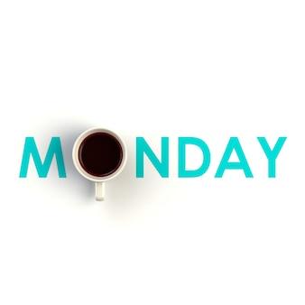 Vue de dessus d'une tasse de café en forme de lundi isolé sur fond blanc