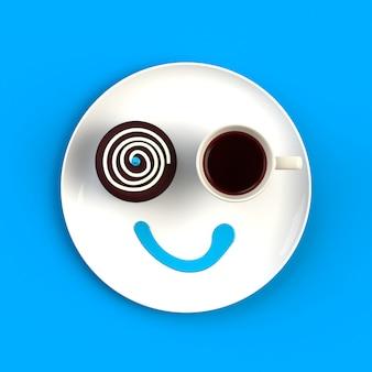 Vue de dessus d'une tasse de café avec un gâteau sous forme de sourire isolé, illustration de la notion de café, rendu 3d