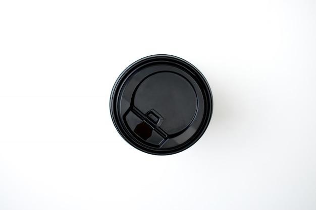 Vue de dessus de tasse à café en papier noir