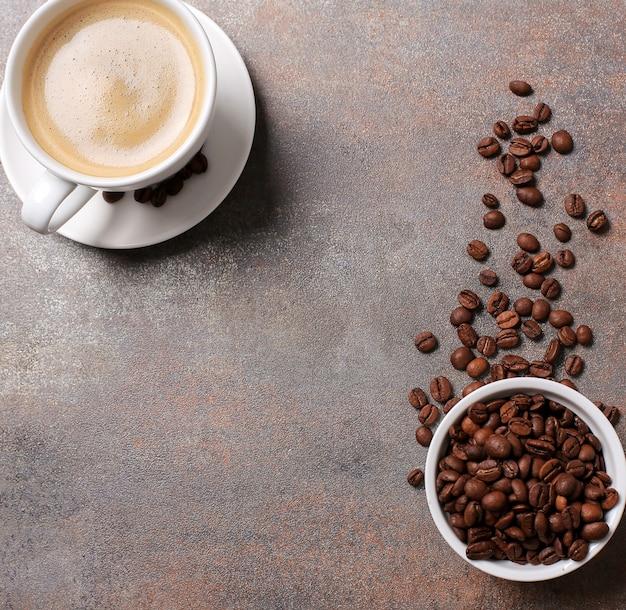 Vue de dessus de tasse de café