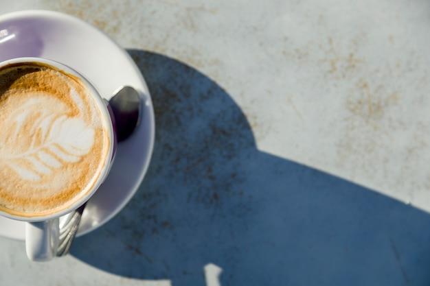 Vue de dessus d'une tasse de café