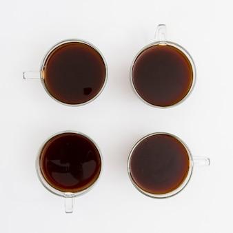 Vue de dessus des tasses de café