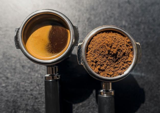 Vue de dessus des tasses de machine à café