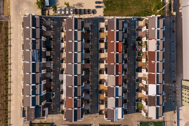 Vue de dessus de la texture des maisons de ville
