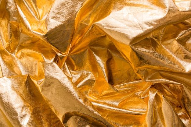 Vue de dessus texture ridée dorée