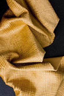 Vue de dessus texture tissu doré