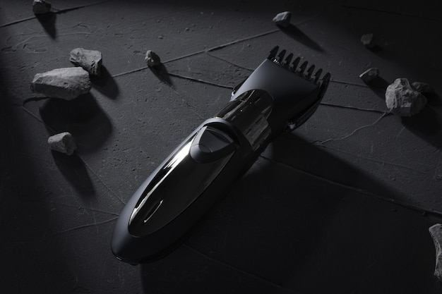 Vue de dessus. tondeuse à cheveux et tête sur béton foncé, table en pierre avec des ombres dures